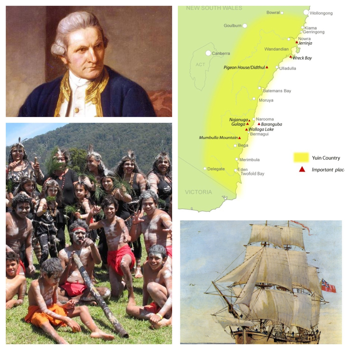 """They appear'd to be of a very dark or black colour"". Cook, HMS Endeavour, and the Yuin people and country."