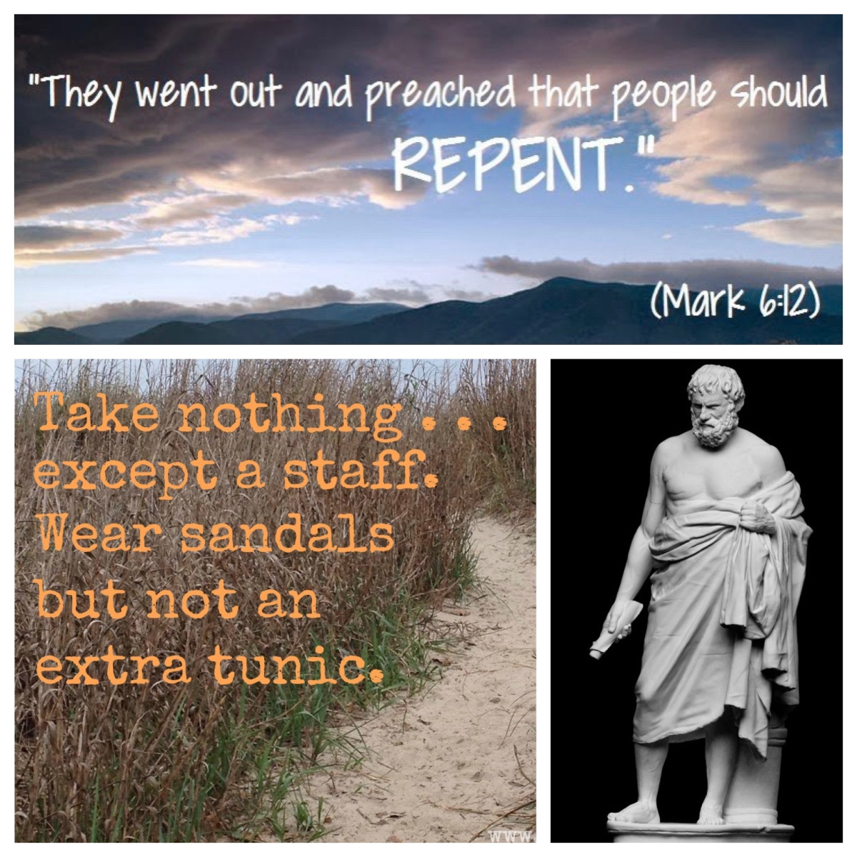 Just sandals and a staff—and only one tunic (Mark 6; Pentecost6B)